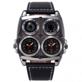 Oulm Jam Tangan Analog Dual Compass Quartz - 1140 - Black