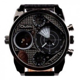 Oulm Jam Tangan Analog - 9316 - Black with White Side
