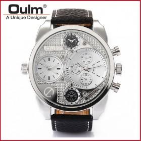 Oulm Jam Tangan Analog - 9316 - Black/Silver