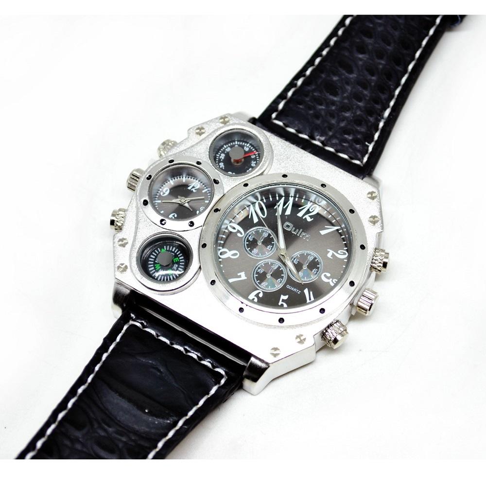 4abcc6171a03 ... Oulm Jam Tangan Fashion Pria dengan Kompas dan Thermometer - 1349 -  Silver Black - 1 ...