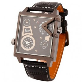 Oulm Quartz Men Leather Band Fashion Watch - 3577 - Black