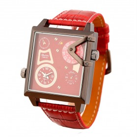 Oulm Quartz Men Leather Band Fashion Watch - 3577 - Red