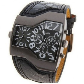 Oulm Mechanical Analog Quartz Men Leather Band Fashion Watch - 1220 - Black