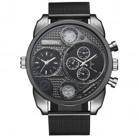 Oulm Jam Tangan Analog Stainless Steel - 9316 - Black White