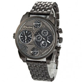 Oulm Jam Tangan Analog Stainless Steel - 9316 - Black