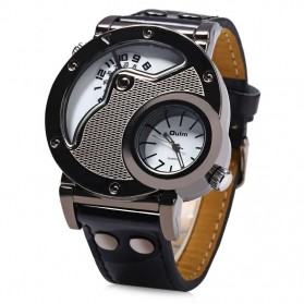 Oulm Quartz Woman Leather Band Fashion Watch - 9591L - Black White