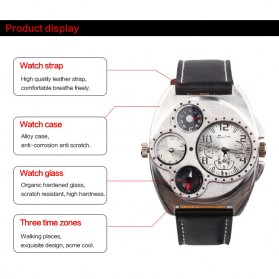 Oulm Jam Tangan Analog - 1155 - Black White - 4