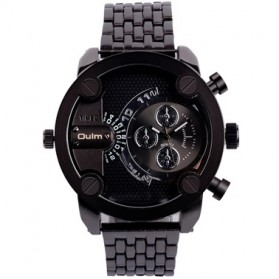 Oulm Quartz Men Stainless Steel Band Fashion Watch - 3130 - Black
