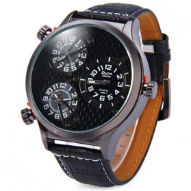 Oulm Quartz Men Leather Band Fashion Watch - 3572 - Black