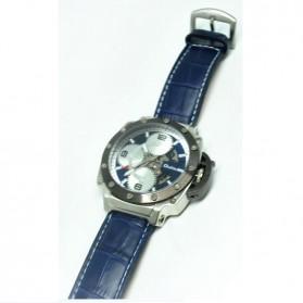 Oulm Mechanical Analog Quartz Men Leather Band Fashion Watch - 3479 - Silver Blue