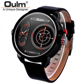 Oulm Analog Quartz Men Stainless Steel Band Fashion Watch - 9316 - Red - 1