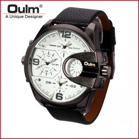 Oulm Analog Quartz Men Leather Band Fashion Watch - 3790 - Black White