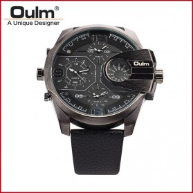 Oulm Analog Quartz Men Leather Band Fashion Watch - 3790 - Black/Silver