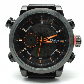 Oulm Jam Tangan Analog - HP3558 - Black/Orange