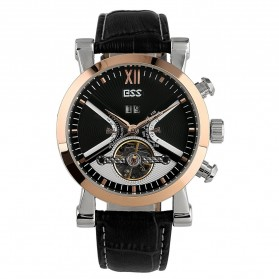 ESS Luxury Men Leather Strap Automatic Mechanical Watch - WM353 - Black Gold