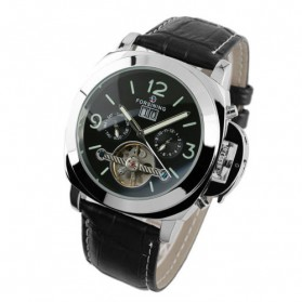 ESS Luxury Men Leather Strap Automatic Mechanical Watch - WM343 - Black/Silver