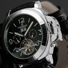ESS Luxury Men Leather Strap Automatic Mechanical Watch - WM343 - Black/Silver - 2