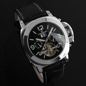 ESS Luxury Men Leather Strap Automatic Mechanical Watch - WM343 - Black/Silver - 3