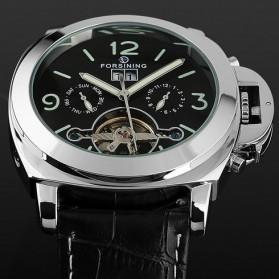 ESS Luxury Men Leather Strap Automatic Mechanical Watch - WM343 - Black/Silver - 4