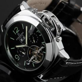 ESS Luxury Men Leather Strap Automatic Mechanical Watch - WM343 - Black/Silver - 5