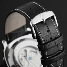 ESS Luxury Men Leather Strap Automatic Mechanical Watch - WM343 - Black/Silver - 6