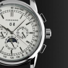ESS Luxury Men Leather Strap Automatic Mechanical Watch - WM398 - Black/Silver - 3