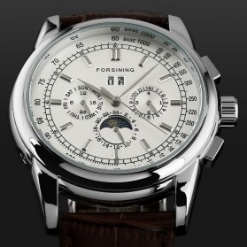 ESS Luxury Men Leather Strap Automatic Mechanical Watch - WM398 - Black/Silver - 4