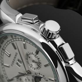 ESS Luxury Men Leather Strap Automatic Mechanical Watch - WM398 - Black/Silver - 5