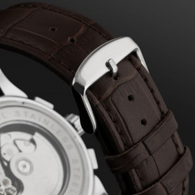 ESS Luxury Men Leather Strap Automatic Mechanical Watch - WM398 - Black/Silver - 6