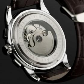 ESS Luxury Men Leather Strap Automatic Mechanical Watch - WM398 - Black/Silver - 7