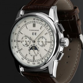 ESS Luxury Men Leather Strap Automatic Mechanical Watch - WM398 - Brown/Silver - 2