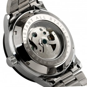 ESS Skeleton Stainless Steel Automatic Mechanical Watch - WM400 - Silver Black - 3