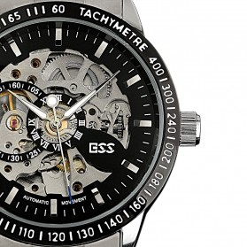 ESS Skeleton Stainless Steel Automatic Mechanical Watch - WM400 - Silver Black - 6
