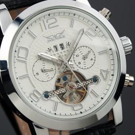 ESS Luxury Men Leather Strap Automatic Mechanical Watch - WM261 - Black/Silver - 2