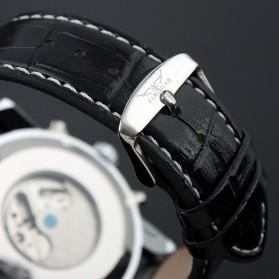 ESS Luxury Men Leather Strap Automatic Mechanical Watch - WM261 - Black/Silver - 3