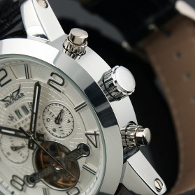ESS Luxury Men Leather Strap Automatic Mechanical Watch - WM261 - Black/Silver - 5