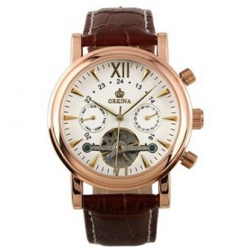 ESS Luxury Men Leather Strap Automatic Mechanical Watch - WM308 - Rose Gold