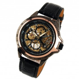 ESS Skeleton Leather Strap Automatic Mechanical Watch - WM267 - Black Gold - 2