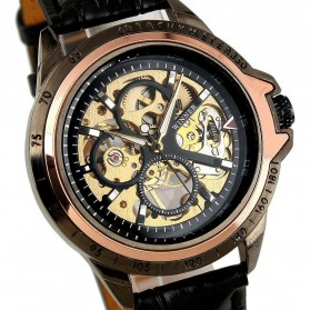 ESS Skeleton Leather Strap Automatic Mechanical Watch - WM267 - Black Gold - 3