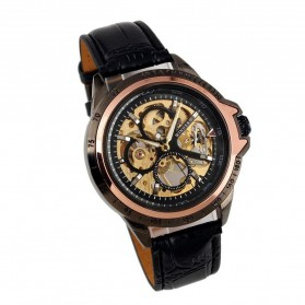 ESS Skeleton Leather Strap Automatic Mechanical Watch - WM267 - Black Gold - 4