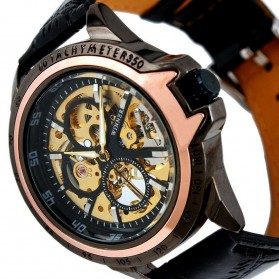 ESS Skeleton Leather Strap Automatic Mechanical Watch - WM267 - Black Gold - 5