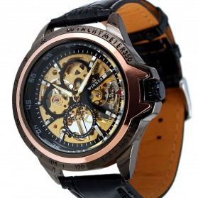 ESS Skeleton Leather Strap Automatic Mechanical Watch - WM267 - Black Gold - 6