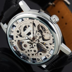 ESS Luxury Men Leather Skeleton Hand-Wind Up Automatic Mechanical Watch - WM119-ESS - Black/Silver - 2