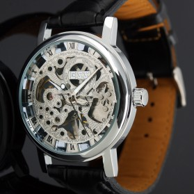 ESS Luxury Men Leather Skeleton Hand-Wind Up Automatic Mechanical Watch - WM119-ESS - Black/Silver - 3