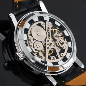 ESS Luxury Men Leather Skeleton Hand-Wind Up Automatic Mechanical Watch - WM119-ESS - Black/Silver - 5