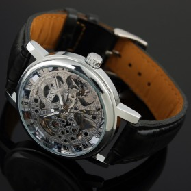 ESS Luxury Men Leather Skeleton Hand-Wind Up Automatic Mechanical Watch - WM119-ESS - Black/Silver - 6