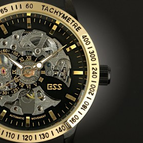 ESS Skeleton Stainless Steel Automatic Mechanical Watch - WM399 - Black Gold