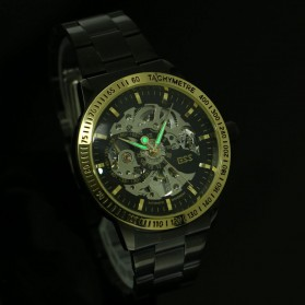 ESS Skeleton Stainless Steel Automatic Mechanical Watch - WM399 - Black Gold - 2