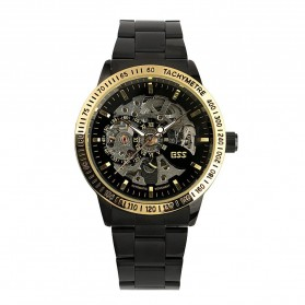 ESS Skeleton Stainless Steel Automatic Mechanical Watch - WM399 - Black Gold - 5