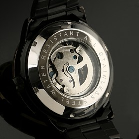 ESS Skeleton Stainless Steel Automatic Mechanical Watch - WM399 - Black Gold - 6